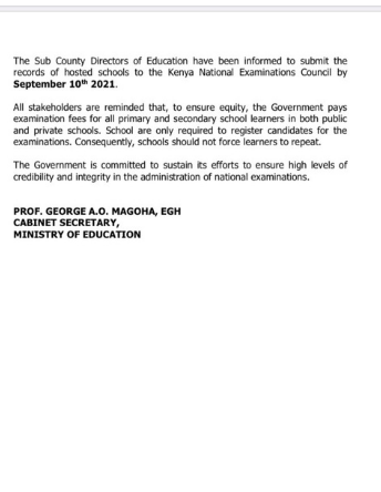 Education Ministry Extends KCPE, KCSE Registration By Two Weeks. Full Statement By Magoha