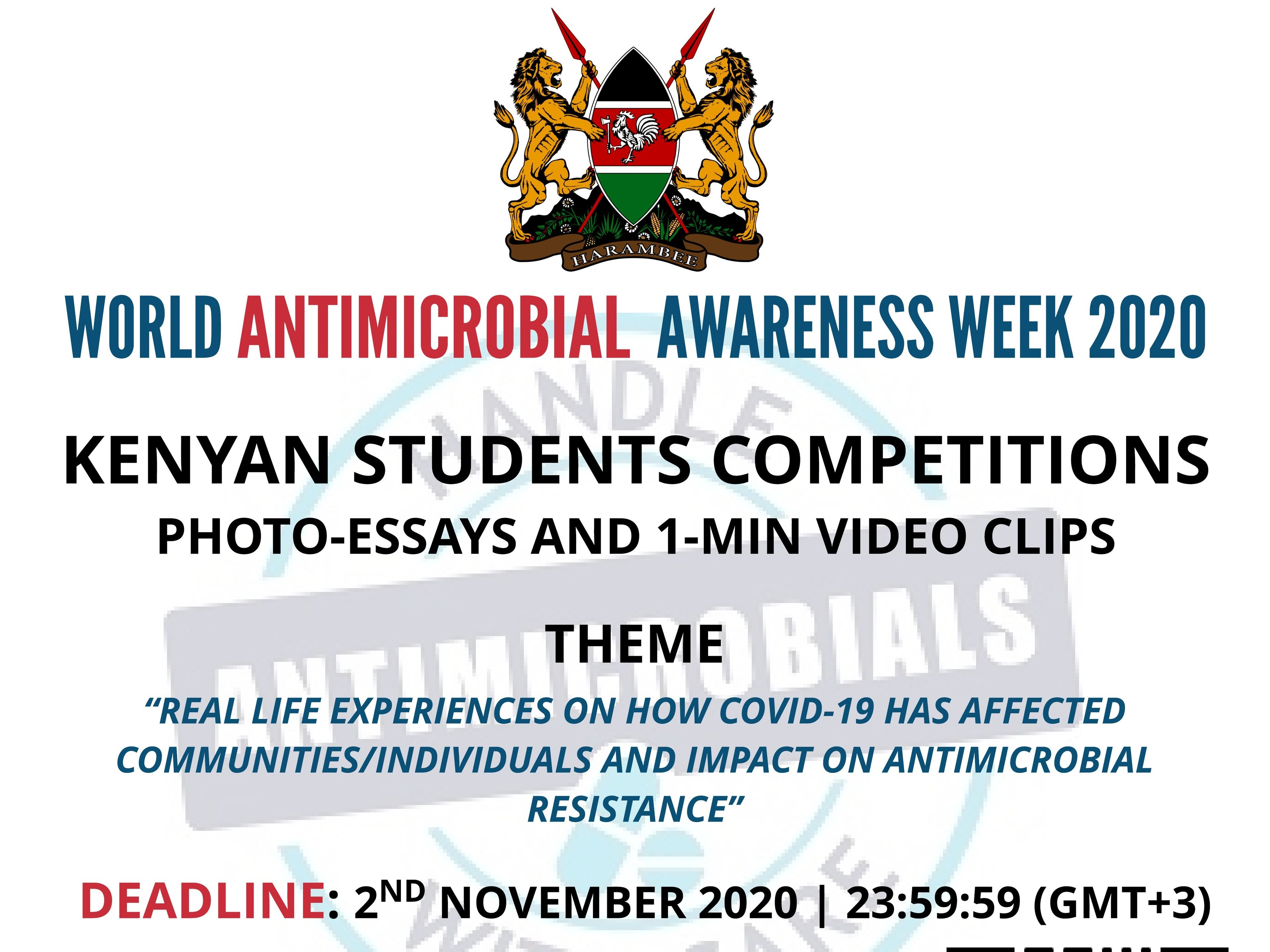 Wold Antimicrobial Awareness Week 2020, Kenya Student Photo Essay And Short Video Competition