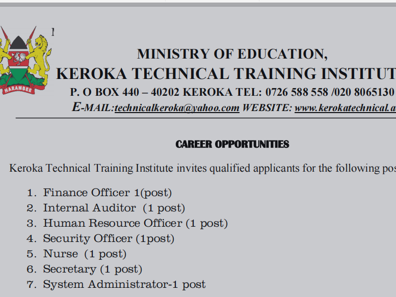 Career Opportunities At Keroka Technical Training Institute