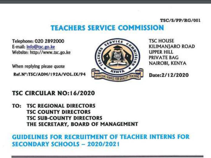 TSC Guidelines For Recruitment Of Teacher Interns For Secondary Schools, 2020-2021