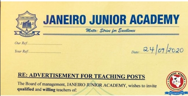 Janeiro Primary School Vacancies. English, Kiswahili, CRE, Social Studies, Science, Mathematics Teaching Vacancies.
