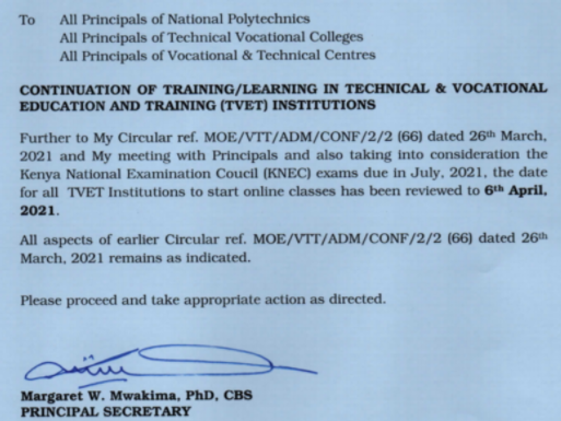 TVET institutions to continue with learning Notwithstanding President Kenyatta directive, PS Mwakima says.