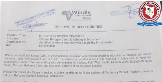 Mathematics, Biology, Chemistry Teaching Vacancies/Jobs At WIKI - October 2020
