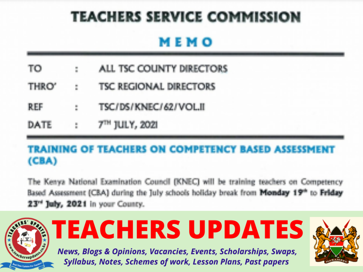 July Training of teachers on Competency-Based Assessment