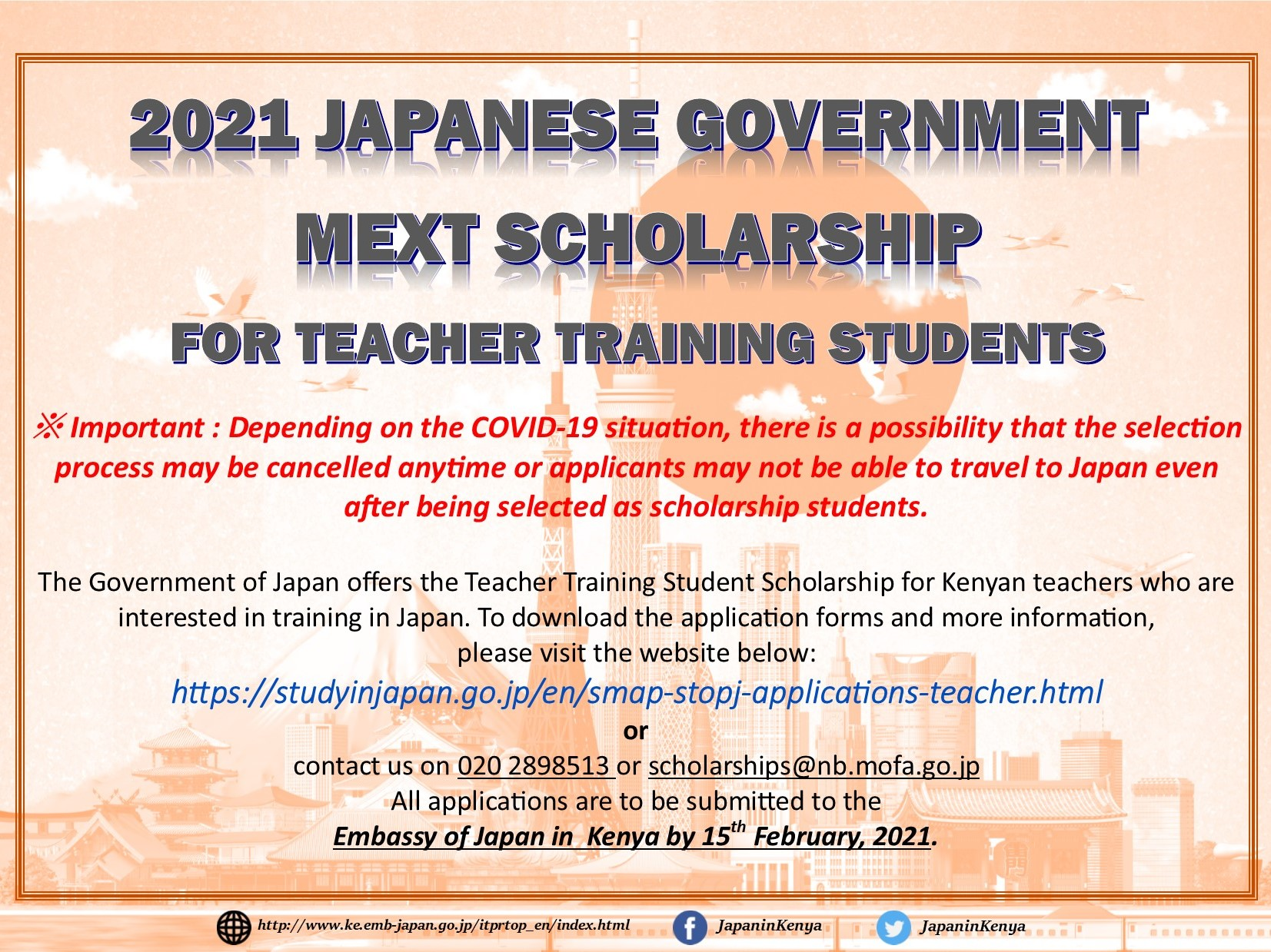 JAPANESE GOVERNMENT MEXT SCHOLARSHIP FOR 2021 TEACHER TRAINING STUDENTS