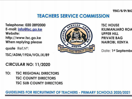 TSC GUIDELINES FOR RECRUITMENT OF TEACHERS - PRIMARY SCHOOLS 2020/2021