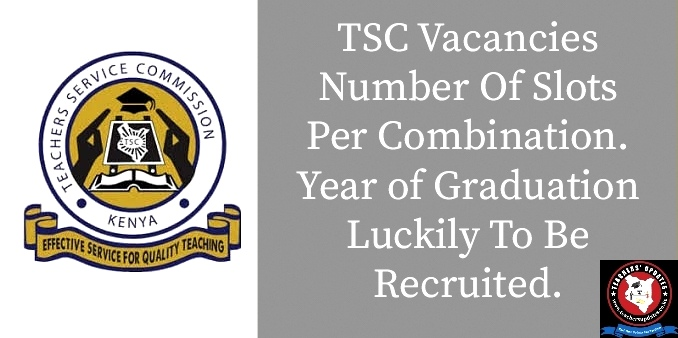 TSC Number Of Slots Per Combination. Year Of Graduation Luckily To Be Employed.